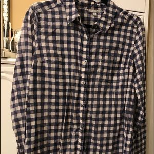 Blue checked lightweight cotton blouse
